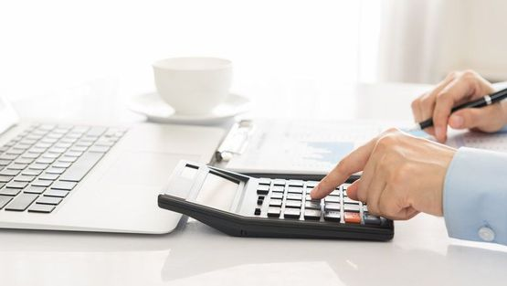 An accountant's documents and calculators